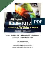 Denial Tafsir Surah Yasin Rahman by Sheikh Yasir Qadhi Al Maghrib Notes (pdf download available)