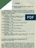 Cronica Conmemoración del tercer centenario de la muerte de Blaise Pascal Revista de Filosofia UCR Vol.4 No.13