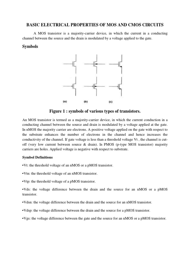 Basic Electrical Properties of Mos and Cmos Circuits   Mosfet ...