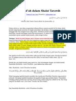 14 Contoh Bid'Ah Dalam Shalat Tarawih