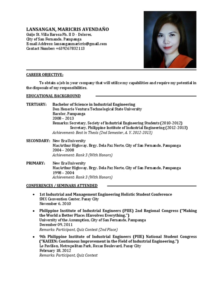 sle resume fresh graduate industrial engineering