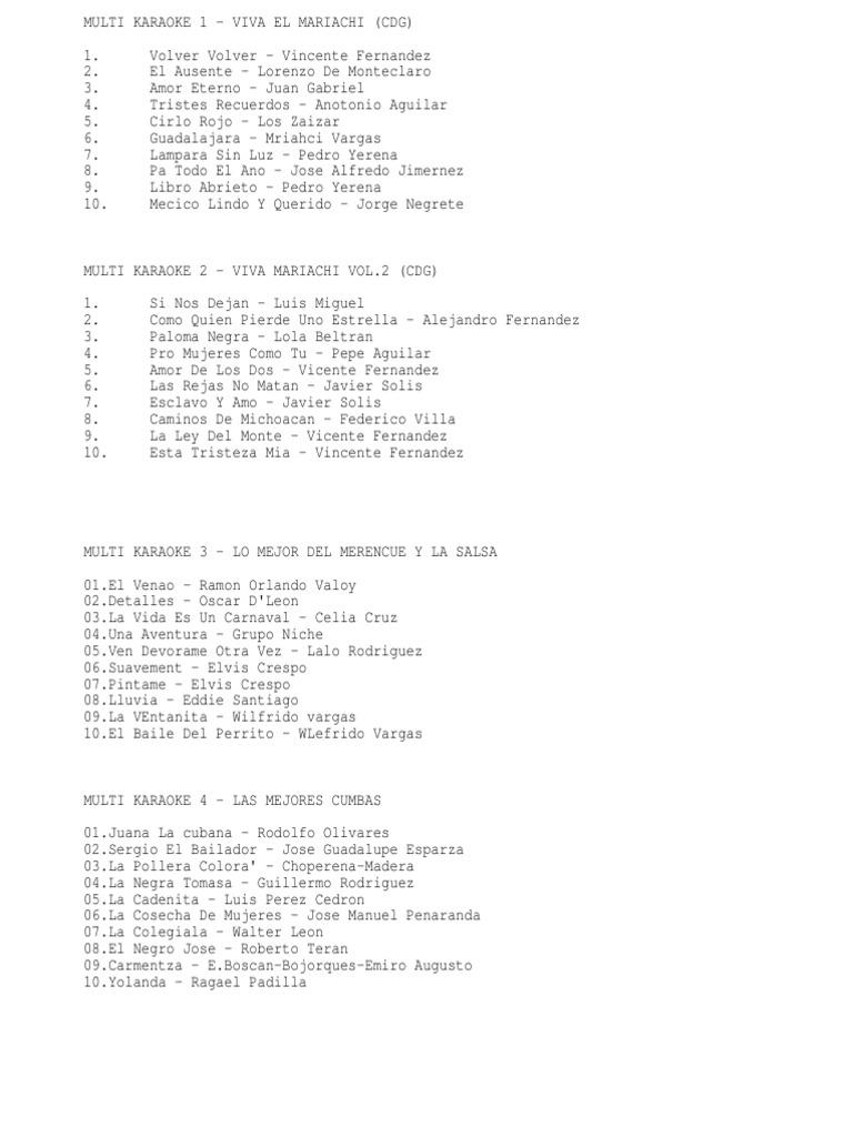 Lista de Karaoke