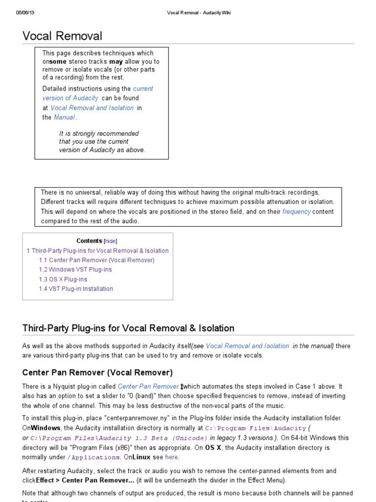 Vocal Removal - Audacity Wiki | Mac Os | Tecnología