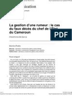 La gestion d'une rumeur_le cas du faux décès du chef de l'État du Cameroun