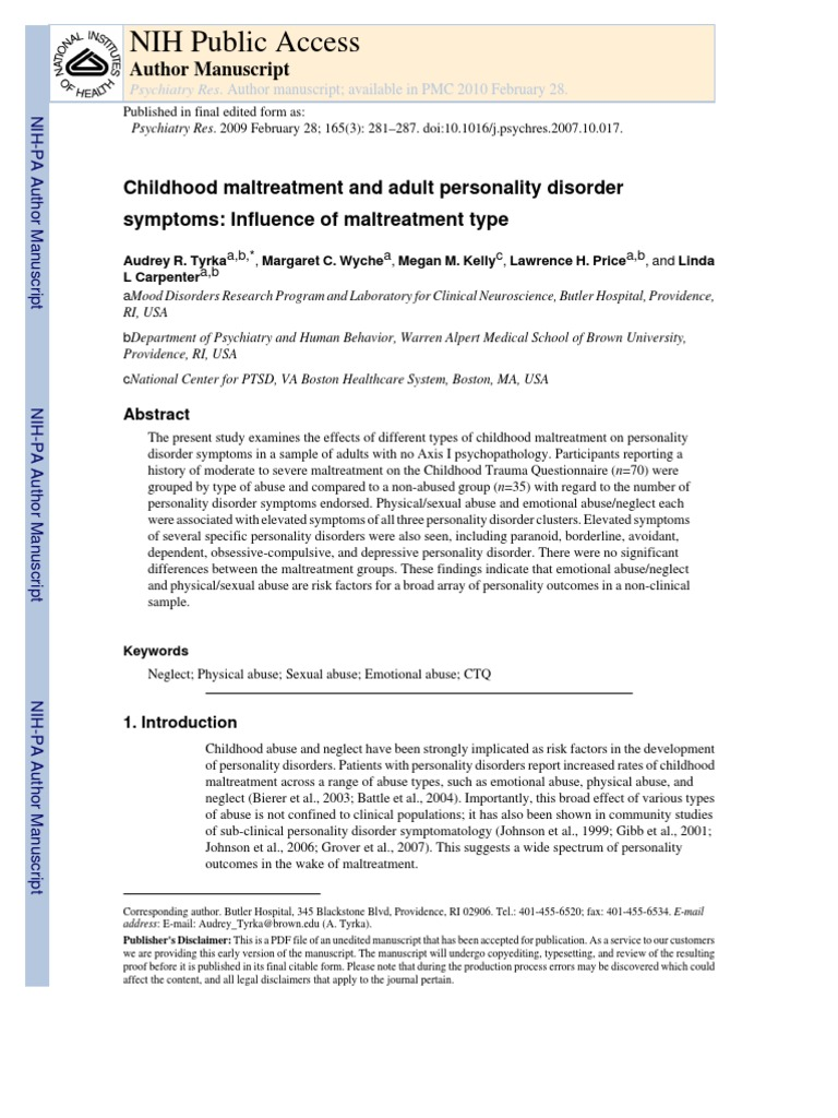 Childhood Maltreatment and Adult Personality Disorder ...