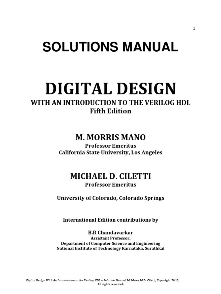 solutions c1 pdf rh pt scribd com solutions manual digital design with an introduction to the verilog hdl fifth edition solutions manual digital design with an introduction to the verilog hdl fifth edition
