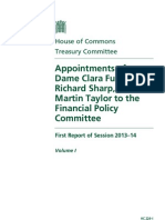 Treasury Select Committee Report on Appointments to FPC