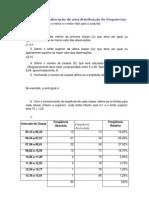 Regras para a elaboração de uma distribuição de frequências