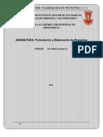 Formulación y elaboración de proyectos 2012 FINAL