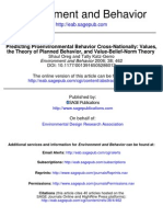 Predicting Proenvironmental Behavior Cross-Nationally-Values, The Theory of Planned Behavior, And