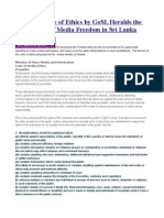 Proposed Code of Ethics by GoSL Heralds the Death Knell of Media Freedom in Sri Lanka