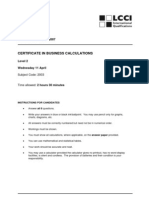 Business Calculations L2 Past Paper Series 2 2007