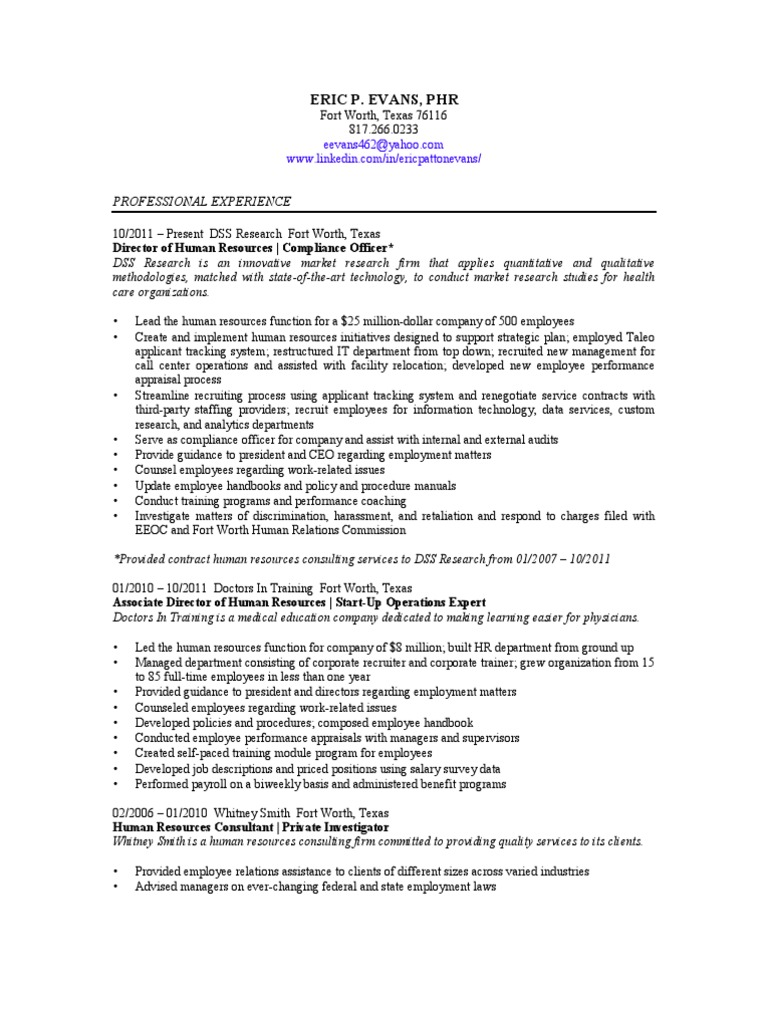 Human Resources Director Generalist In Dallas Fort Worth Tx Resume