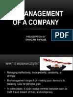mismanagement of company