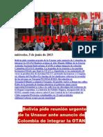 Noticias Uruguayas miércoles 6 de junio del 2013