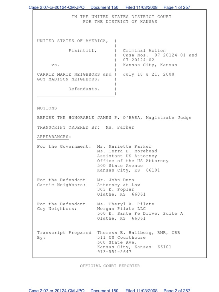 Transcript of Hearing & Testimony Case 07-20124-01 marietta parker US attorney Yellow house store owners