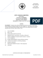 Thursday June 6th, 2013 Trenton City Council Meeting Agenda and Docket