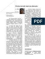 O Brasil Precisa investir mais em educação, por Adna Míria, Canarana-BA