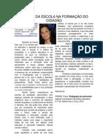 O PAPEL DA ESCOLA NA FORMAÇÃO DO CIDADÃO, Por Aline Nunes, Barro Alto-BA