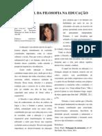 O PAPEL DA FILOSOFIA NA EDUCAÇÃO, Por Fabrísia Tossato, Barro Alto-BA
