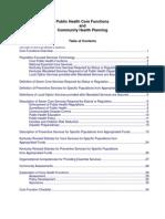 Public Health Core Functions & Community Health Planning