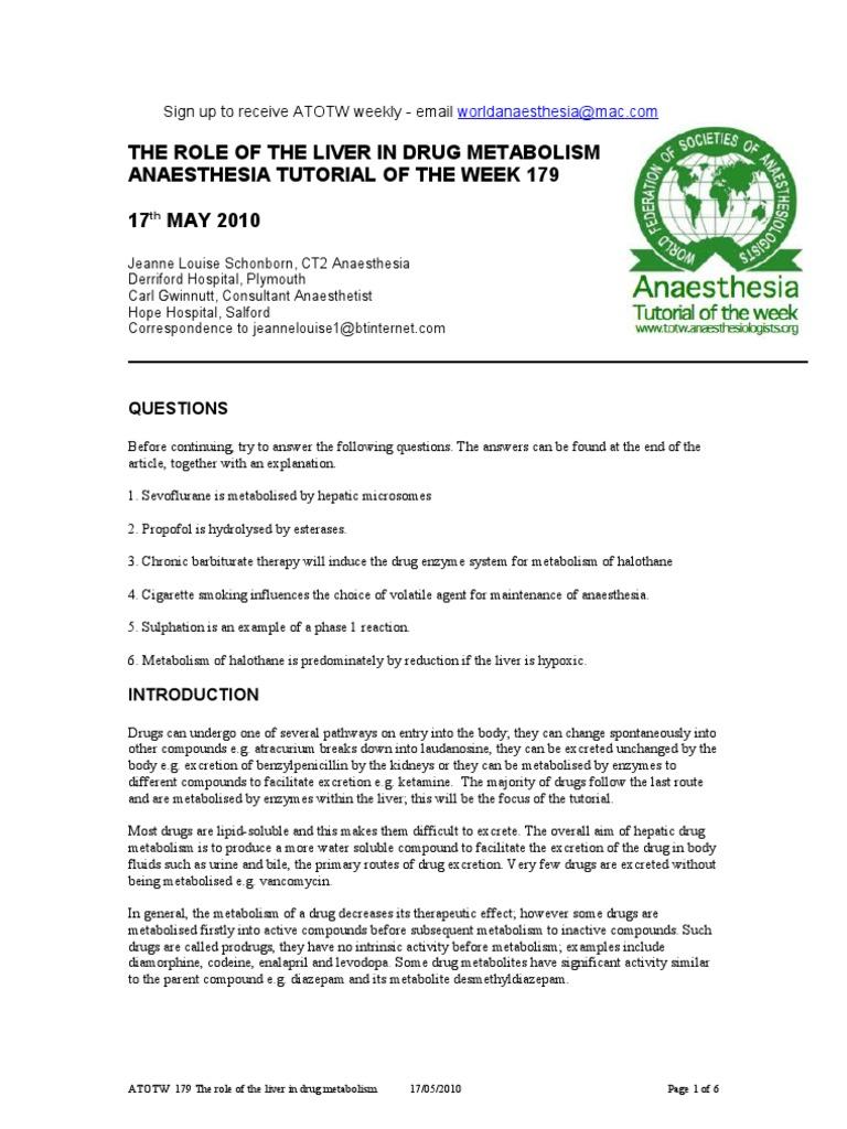 179 The Role Of The Liver In Drug Metabolism Drug Metabolism