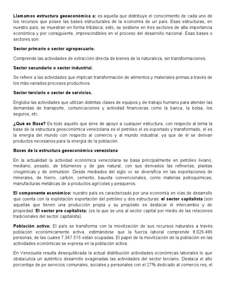 Bases De La Estructura Geoeconomica Venezuela Agricultura