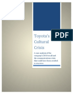 Case Study Toyota Cultural Crisis