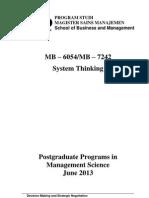MB 6054- MB 7242 Systemic Thinking - 2013 (29052013) rev