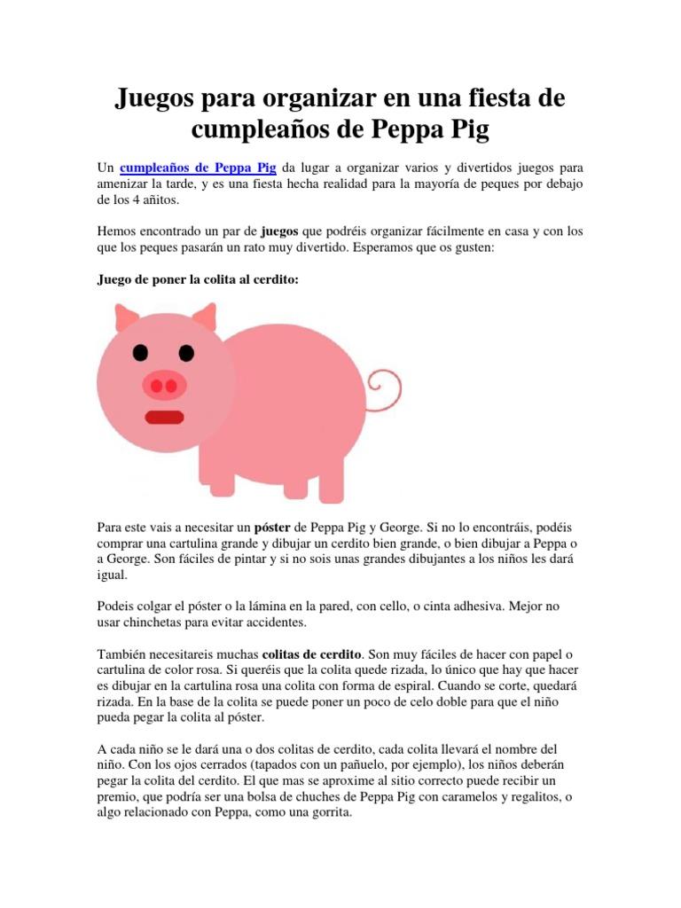 Juegos Para Hacer En Un Cumpleaños De Peppa Pig Pdf Ocio