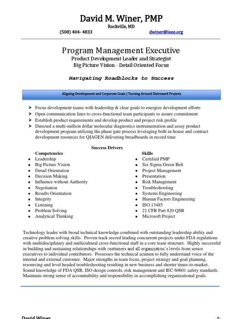 Director Vp Program Management In Boston Ma Resume David Winer