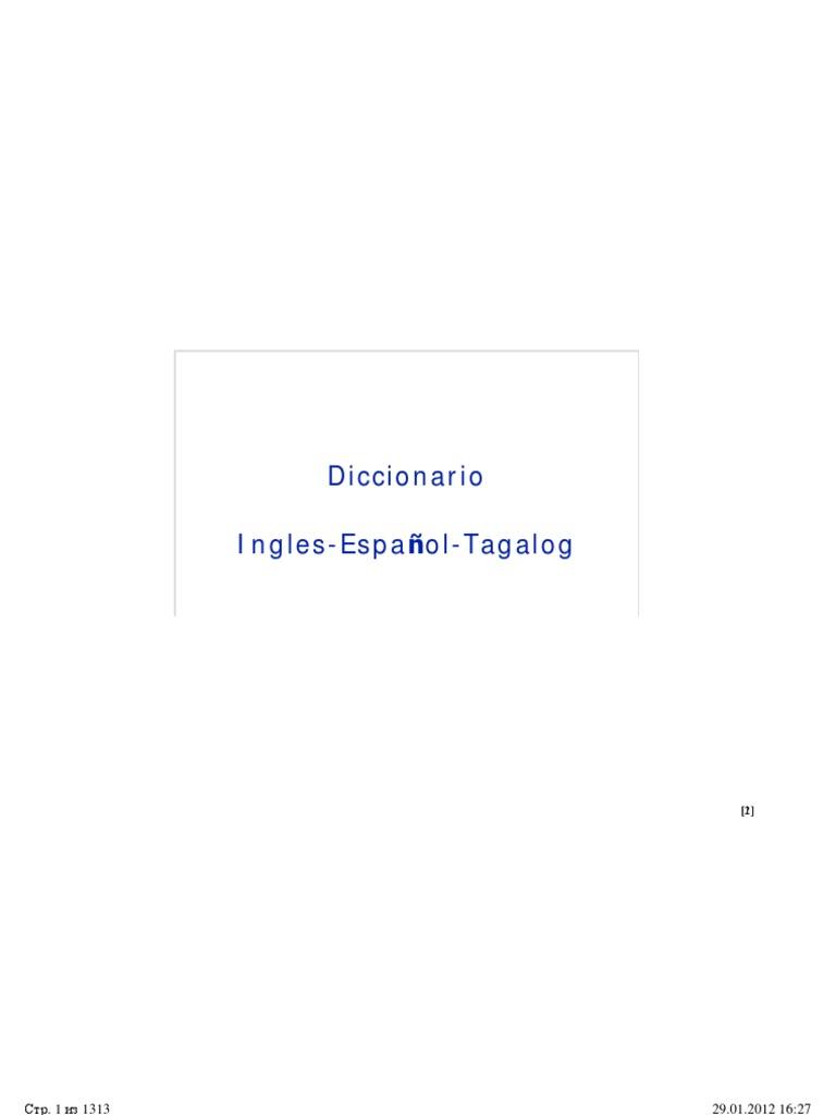 Diccionario Ingles Espanol Tagalog
