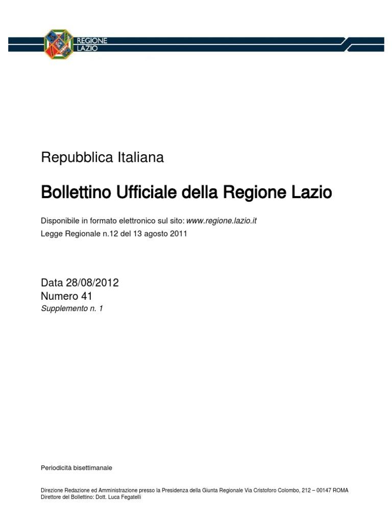 Tariffa Dei Prezzi 2012 Regione Lazio