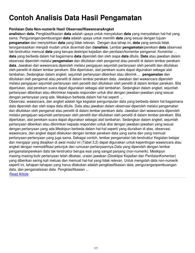 Dokumen Serupa Dengan Contoh Analisis Data Hasil Pengamatan