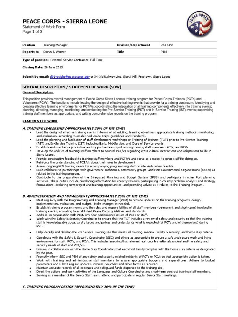 peace corps training manager statement of work personal services