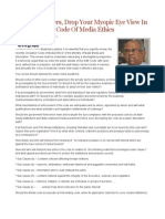Business Leaders, Drop Your Myopic Eye View in Reviewing the Code of Media Ethics