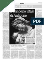 Il Desiderio Vitale Di Antigone - Il Manifesto 06.06.2013