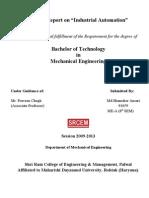 Industrial Automation Summer Training Report, PLC, SCADA, HMI Instrumentation---shamsher
