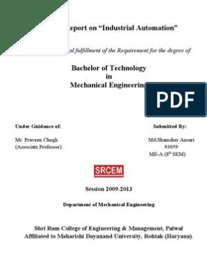 Industrial Automation Summer Training Report, PLC, SCADA, HMI