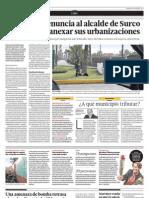 Chorrillos denuncia al alcalde de Surco por intentar anexar sus urbanizaciones