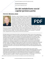Mészáros, I. - La reproducción del metabolismo social del orden del capital (primera parte)