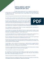 Fairfax Investor Day Briefing