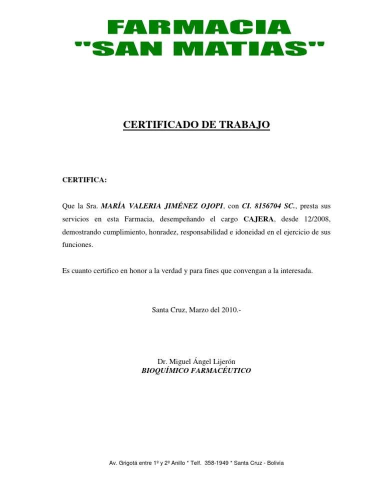 Certificado trabajo farmacia for Servicio de empleo