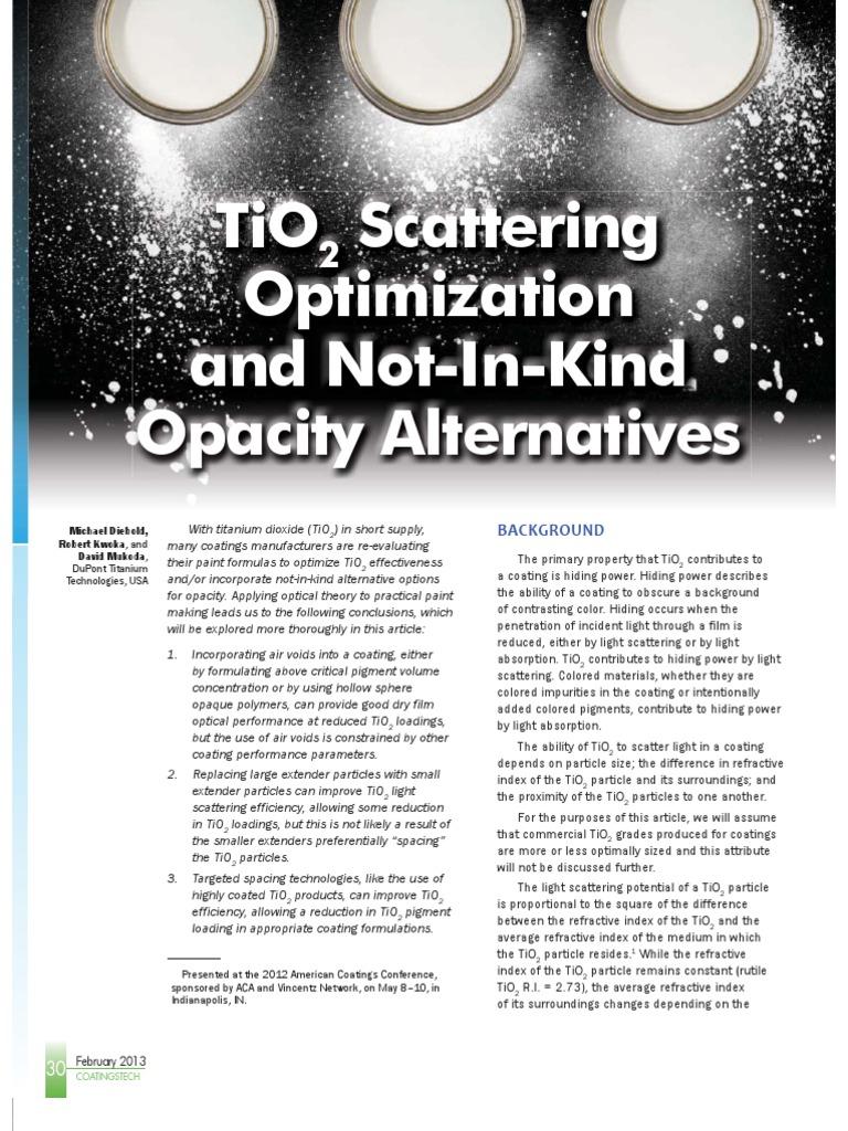 TiO2 Scattering Optimization pdf | Titanium Dioxide | Scattering