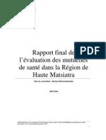 Rapport final de l'évaluation des mutuelles de santé dans la Région de Haute Matsiatra