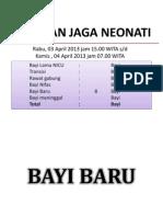 Kaporan Jaga Neonati 3-4-2013
