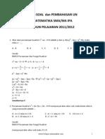 Soal Soal Dan Pembahasan UN Matematika SMA IPA 2012