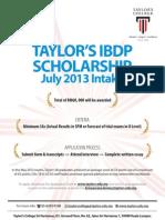 Taylor's IBDP Scholarship 2013