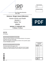 GCSE SCI Single Award PP March 2012 Higher Tier Module 2 Human Activity and Health 10526
