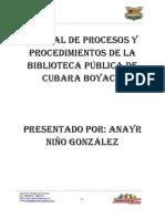 Manual de procesos y procedimiento biblioteca pública de Cubará Boyacá